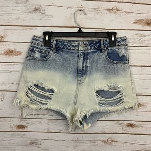 Pacsun Bleached Ombré Distressed High Rise Shorts